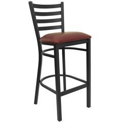 Black Ladder Back Metal Restaurant Barstool - Burgundy Vinyl Seat