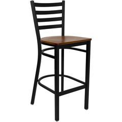 Black Ladder Back Metal Restaurant Barstool - Cherry Wood Seat