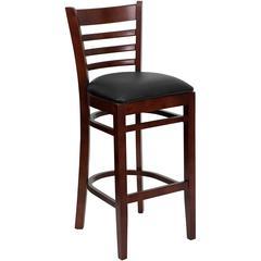 Ladder Back Mahogany Wood Restaurant Barstool - Black Vinyl Seat