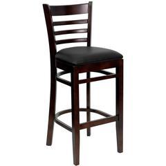 Ladder Back Walnut Wood Restaurant Barstool - Black Vinyl Seat