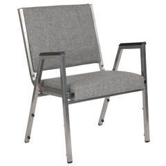 1500 lb. Rated Gray Antimicrobial Fabric Bariatric Arm Chair with Silver Vein Frame