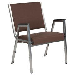 1500 lb. Rated Brown Antimicrobial Fabric Bariatric Arm Chair with Silver Vein Frame