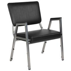 1500 lb. Rated Black Antimicrobial Vinyl Bariatric Arm Chair with 3/4 Panel Back and Silver Vein Frame