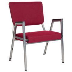 1500 lb. Rated Burgundy Antimicrobial Fabric Bariatric Arm Chair with 3/4 Panel Back and Silver Vein Frame