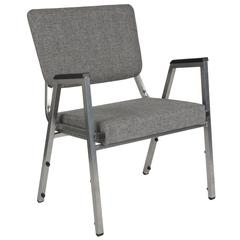 1500 lb. Rated Gray Antimicrobial Fabric Bariatric Arm Chair with 3/4 Panel Back and Silver Vein Frame
