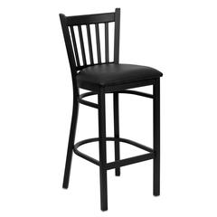 Black Vertical Back Metal Restaurant Barstool - Black Vinyl Seat