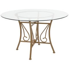 48'' Round Glass Dining Table with Curl Accent Matte Gold Metal Frame