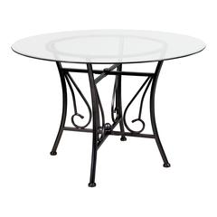 45'' Round Glass Dining Table with Curl Accent Black Metal Frame