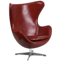 Cordovan Leather Swivel Egg Chair with Tilt-Lock Mechanism