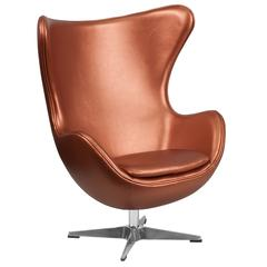 Copper Leather Swivel Egg Chair with Tilt-Lock Mechanism