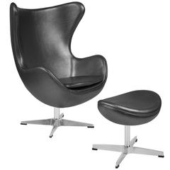 Gray Leather Egg Chair with Tilt-Lock Mechanism and Ottoman