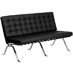 Black Leather Loveseat with Curved Legs
