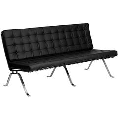 Black Leather Sofa with Curved Legs