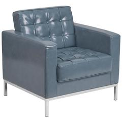Contemporary Button Tufted Gray Leather Chair with Integrated Stainless Steel Frame