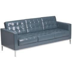 Contemporary Gray Leather Sofa with Stainless Steel Frame