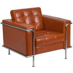 Contemporary Cognac Leather Double Stitch Detail Chair with Encasing Frame