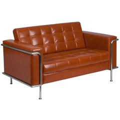 Contemporary Cognac Leather Double Stitch Detail Loveseat with Encasing Frame