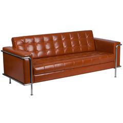 Contemporary Cognac Leather Sofa with Encasing Frame