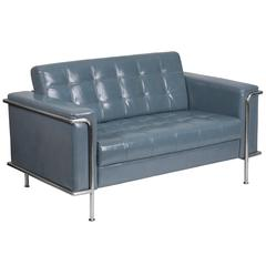 Contemporary Gray Leather Double Stitch Detail Loveseat with Encasing Frame