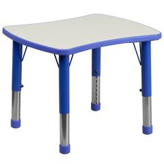 21.875''W x 26.625''L Rectangular Blue Plastic Height Adjustable Activity Table with Grey Top