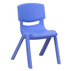 Blue Plastic Stackable School Chair with 12'' Seat Height