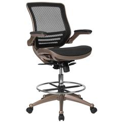 Mid-Back Transparent Black Mesh Drafting Chair with Melrose Gold Frame and Flip-Up Arms