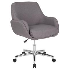Rochelle Home and Office Upholstered Mid-Back Chair in Light Gray Fabric
