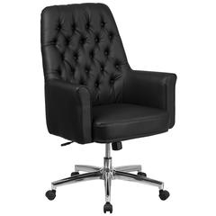 Mid-Back Traditional Tufted Black Leather Executive Swivel Chair with Arms
