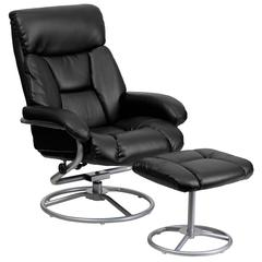 Personalized Contemporary Black Leather Recliner and Ottoman with Metal Base