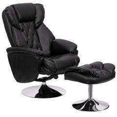 Personalized Transitional Black Leather Recliner and Ottoman with Chrome Base