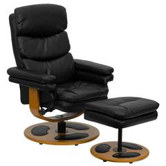 Personalized Contemporary Black Leather Recliner and Ottoman with Wood Base