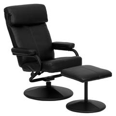 Personalized Contemporary Black Leather Recliner and Ottoman with Leather Wrapped Base
