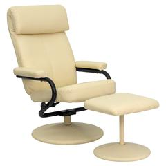 Personalized Contemporary Cream Leather Recliner and Ottoman with Leather Wrapped Base