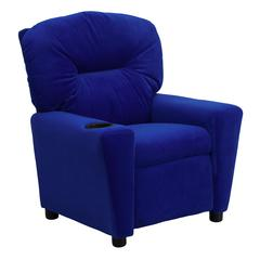 Contemporary Blue Microfiber Kids Recliner with Cup Holder