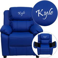Personalized Deluxe Padded Blue Vinyl Kids Recliner with Storage Arms
