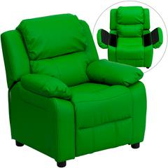 Personalized Deluxe Padded Green Vinyl Kids Recliner with Storage Arms