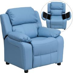 Personalized Deluxe Padded Light Blue Vinyl Kids Recliner with Storage Arms
