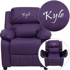 Personalized Deluxe Padded Purple Vinyl Kids Recliner with Storage Arms