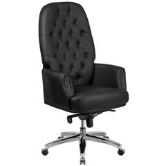 High Back Traditional Tufted Black Leather Multifunction Executive Swivel Chair with Arms