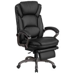 High Back Black Leather Executive Reclining Swivel Chair with Outer Lumbar Cushion and Arms