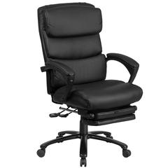 High Back Black Leather Executive Reclining Swivel Chair with Adjustable Headrest, Comfort Coil Seat Springs and Arms
