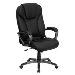High Back Black Leather Executive Swivel Chair with Titanium Nylon Base and Arms