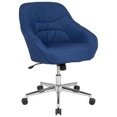 Marseille Home and Office Upholstered Mid-Back Chair in Blue Fabric