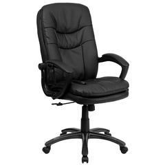 High Back Massaging Black Leather Executive Swivel Chair with Remote Pocket and Arms