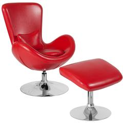 Egg Series Red Leather Side Reception Chair with Ottoman