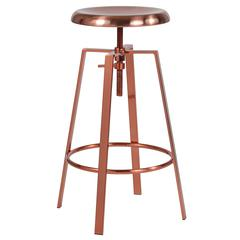 Toledo Industrial Style Barstool with Swivel Lift Adjustable Height Seat in Rose Gold Finish