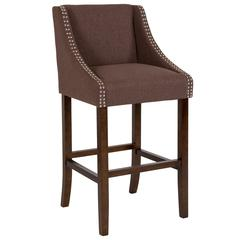 """Carmel Series 30"""" High Transitional Walnut Barstool with Accent Nail Trim in Brown Fabric"""