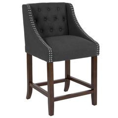 """Carmel Series 24"""" High Transitional Tufted Walnut Counter Height Stool with Accent Nail Trim in Black Fabric"""