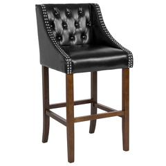 """Carmel Series 30"""" High Transitional Tufted Walnut Barstool with Accent Nail Trim in Black Leather"""