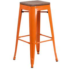 """30"""" High Backless Orange Metal Barstool with Square Wood Seat"""